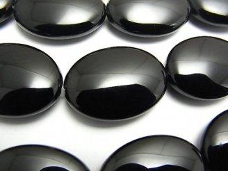 天然石卸 オニキス 大粒オーバル30×22×10mm 半連/1連(約37cm)