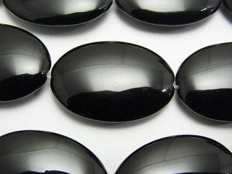 天然石卸 オニキス 大粒オーバル35×25×8mm 半連/1連(約35cm)
