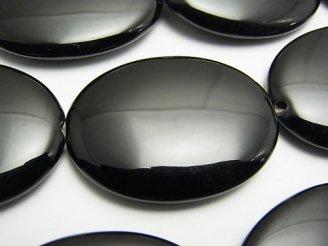 天然石卸 オニキス 大粒オーバル40×30×7mm 半連/1連(約31cm)