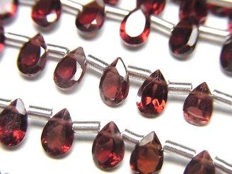 天然石卸 宝石質モザンビーク産ガーネットAAA ペアシェイプファセットカット6×4×2.5mm 半連/1連(約16cm)