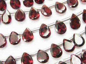 天然石卸 宝石質モザンビーク産ガーネットAAA ペアシェイプファセットカット8×6×3mm 1/4連〜1連(約19cm)