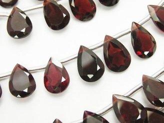 天然石卸 宝石質モザンビーク産ガーネットAAA ペアシェイプファセットカット12×8×3mm 1/4連〜1連(約16cm)