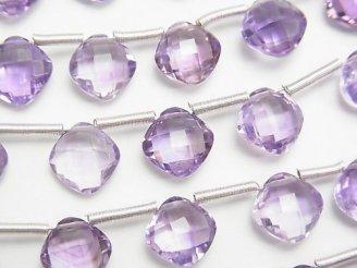 天然石卸 宝石質ブラジル産ピンクアメジストAAA ダイヤカット9×9mm 半連/1連(18粒)