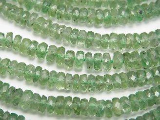 天然石卸 希少!宝石質グリーンカイヤナイトAAA ボタンカット 半連/1連(約40cm)