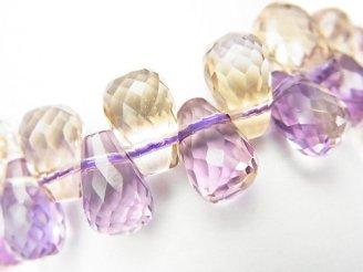 天然石卸 1点もの!宝石質アメトリンAAA ドロップ ブリオレットカット 1連(ブレス) NO.57