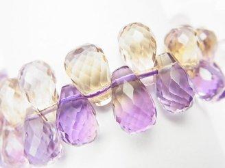 天然石卸 1点もの!宝石質アメトリンAAA ドロップ ブリオレットカット 1連(ブレス) NO.62