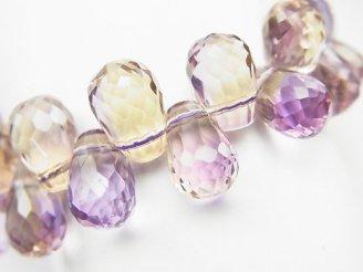 天然石卸 1点もの!宝石質アメトリンAAA ドロップ ブリオレットカット 1連(ブレス) NO.66