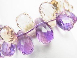 天然石卸 1点もの!宝石質アメトリンAAA ドロップ ブリオレットカット 1連(ブレス) NO.67
