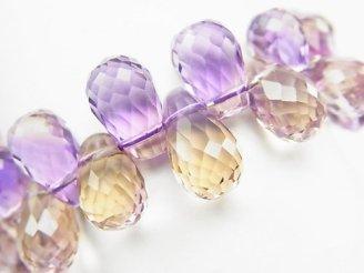 天然石卸 1点もの!宝石質アメトリンAAA ドロップ ブリオレットカット 1連(ブレス) NO.71