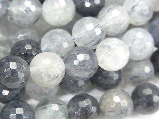 天然石卸 ブラジル産アクチノライト in クォーツAA++ 128面ラウンドカット10mm 半連/1連(約38cm)