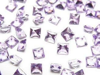 天然石卸 宝石質ピンクアメジストAAA 穴なしプリンセスカット4×4×2.5mm 10粒380円!