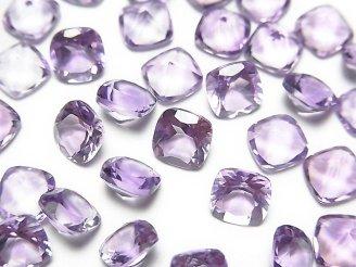 天然石卸 宝石質ピンクアメジストAAA 穴なしスクエアファセットカット6×6mm 5粒480円!