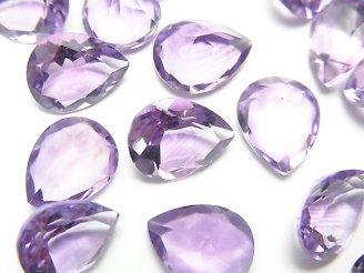 天然石卸 宝石質ピンクアメジストAAA 穴なしペアシェイプファセットカット10×8mm 5粒980円!