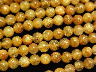 天然石卸 高品質ルチルクォーツAAA ラウンド4mm 半連/1連(約38cm)