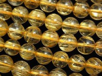 天然石卸 高品質ルチルクォーツAAA ラウンド7mm 1/4連〜1連(約38cm)