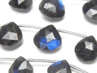 天然石卸 1連2,980円〜!宝石質ブラックラブラドライトAA++ マロン ブリオレットカット 1連(約16cm)