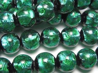 天然石卸 とんぼ玉 ラウンド10mm 【ライトブルー×グリーン】 1/4連〜1連(約37cm)