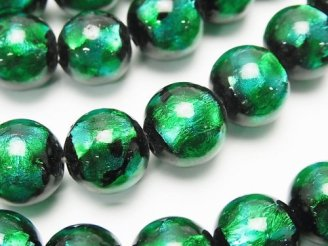 天然石卸 とんぼ玉 ラウンド12mm 【ライトブルー×グリーン】 1/4連〜1連(約35cm)
