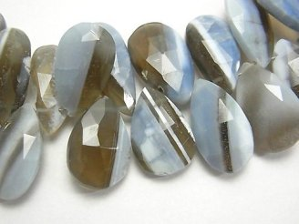 天然石卸 1点もの!ストライプブルーオパールAAA- ペアシェイプ ブリオレットカット 1連(約18cm)