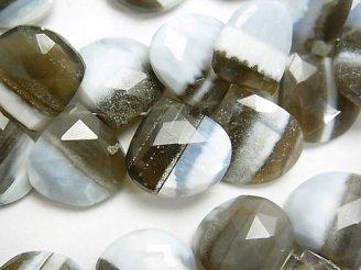 天然石卸 ストライプブルーオパールAAA- 大粒マロン ブリオレットカット 半連/1連(約18cm)