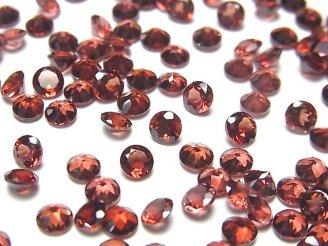 天然石卸 宝石質モザンビーク産ガーネットAAA 穴なしラウンドファセットカット4×4×2.5mm 10粒380円!