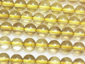天然石卸 宝石質レモン×スモーキークォーツAAA ラウンド6mm 半連/1連(約38cm)