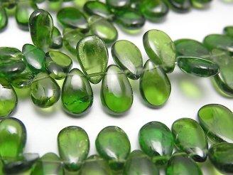 天然石卸 宝石質クロムダイオプサイドAAA- ペアシェイプ(プレーン) 半連/1連(約18cm)