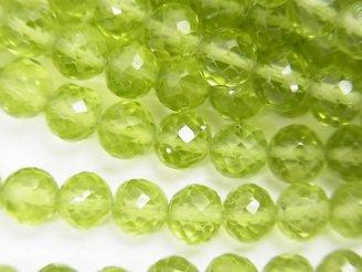 宝石質ペリドットAAA- ラウンドカット4〜5mm 半連/1連(約18cm)