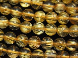 天然石卸 最上級ルチルクォーツAAA ラウンド6mm 1/4連〜1連(約38cm)
