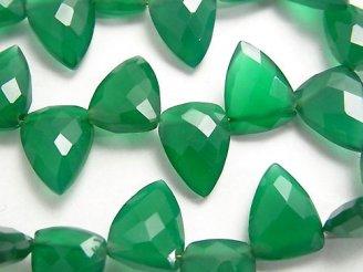 天然石卸 宝石質グリーンオニキスAAA 変形ペアシェイプカット 【ダークカラー】 半連/1連(約18cm)