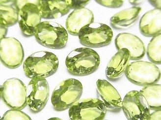 天然石卸 宝石質ペリドットAAA 穴なしオーバルファセットカット8×6×3.5mm 5粒980円!