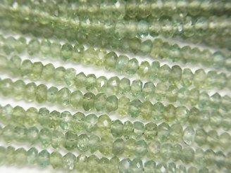 天然石卸 宝石質グリーンアパタイトAAA ボタンカット 半連/1連(約32cm)
