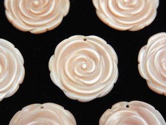 天然石卸 高品質ピンクシェル 薔薇 22mm 1枚480円!
