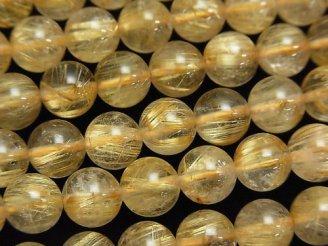 天然石卸 ルチルクォーツAAA- ラウンド8mm 1/4連〜1連(約38cm)