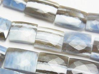 天然石卸 1連3,480円〜!ストライプブルーオパールAAA- レクタングルカット 1連(約18cm)