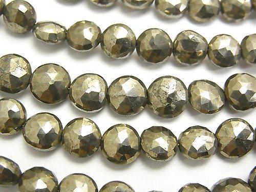 宝石質パイライトAAA- コインカット 1連(約18cm)
