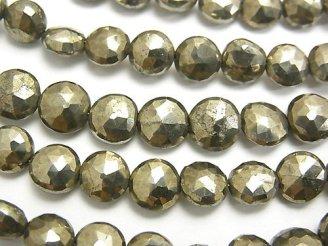 天然石卸 1連1,380円!宝石質パイライトAAA- コインカット 1連(約18cm)