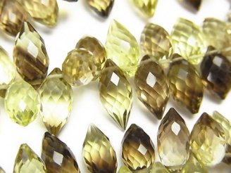 天然石卸 宝石質レモン×スモーキークォーツAAA マーキスライス ブリオレットカット 半連/1連(約20cm)