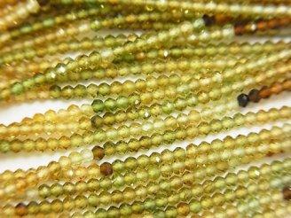 天然石卸 素晴らしい輝き!宝石質ブラウン〜グリーントルマリンAAA ボタンカット 半連/1連(約38cm)