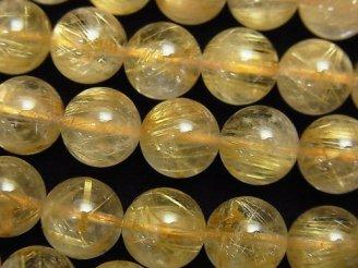 天然石卸 ルチルクォーツAAA ラウンド10mm 1/4連〜1連(約38cm)