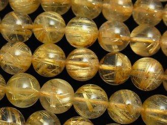 天然石卸 高品質ルチルクォーツAAA ラウンド10mm 1/4連〜1連(約38cm)
