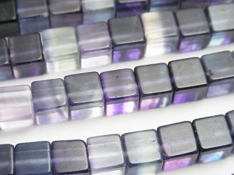 天然石卸 モンゴル産マルチカラー フローライトAAA キューブ6×6×6mm 半連/1連(約37cm)