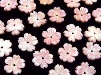 天然石卸 クィーンコンクシェルAAA フラワー(桜)彫刻 10mm 中央穴 2個480円!