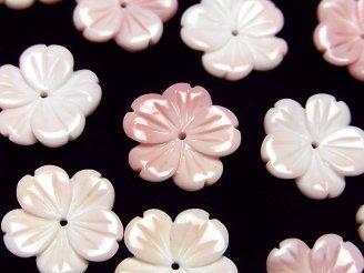 天然石卸 クィーンコンクシェルAAA- フラワー(桜)彫刻 15mm 中央穴 2個640円!