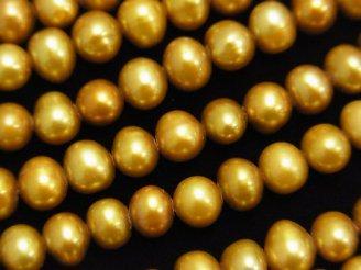 天然石卸 1連1,780円!淡水真珠AAA- ポテト6〜7mm シャンパンゴールド 【1mm穴】 1連(約35cm)