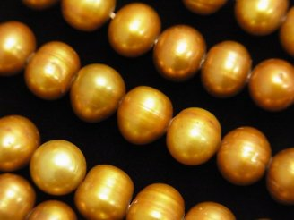 天然石卸 1連1,580円!淡水真珠AA+ ポテト9mm シャンパンゴールド 【1mm穴】 1連(約34cm)