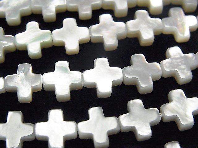 高品質ホワイトシェル クロス(十字架)8×8×3mm 1/4連〜1連(約38cm)