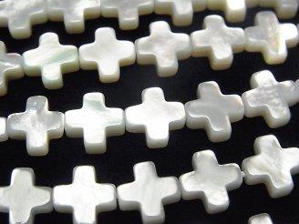 天然石卸 高品質ホワイトシェル クロス(十字架)8×8×3mm 1/4連〜1連(約38cm)