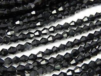 天然石卸 素晴らしい輝き!1連980円!宝石質ブラックスピネルAAA- 16面カット4mm 1連(約37cm)