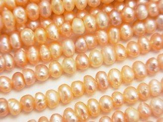 天然石卸 1連380円!淡水真珠AA ポテト3.5〜4mm オレンジ 1連(約37cm)